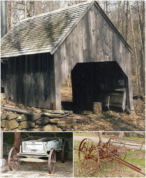 images of items on the Dudley Farm, including a wagon, the hay tedder and the sugar house