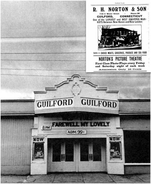 image of the Guilford Theater and a 1913 advertisement for Norton's Picture theater, from the Guilford Directory