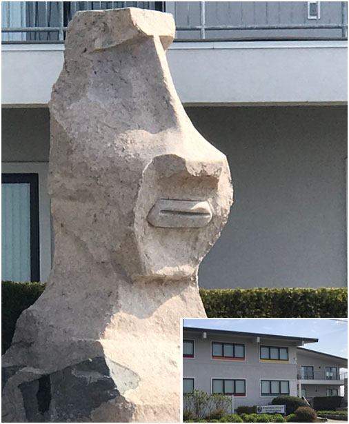 image of the Rapa Nui Moai statue at the Rothberg Institute for Childhood Diseases